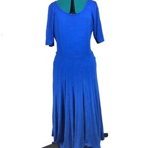 Lularoe Nicole solid blue plus size dress